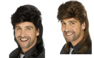 Mullet Wig White Trash Hillbilly Adult Mens Halloween Costume Accessory