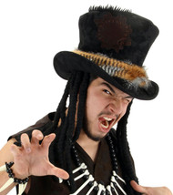 Witch Doctor Top Hat with Dreadlocks Adult