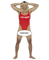 ANITA WAXIN lifeguard unitard humorous beaver funny adult mens halloween costume