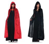 """55"""" Hooded Velvet Cloak Costume Accessory"""