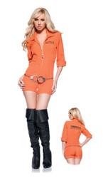 Sexy Orange Prison Jumpsuit Women's Costume