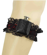 MINI FLASK GARTER tiny steel 20s flapper sexy western costume accessory