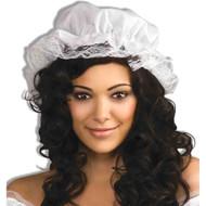 WHITE MOB CAP mop colonial country pilgrim lace bonnet womens halloween costume