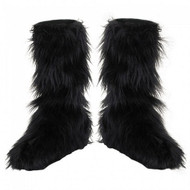 Kids Black Furry Boot Covers Costume Accessory
