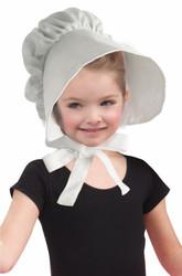 Child White Bonnet Hat Costume Accessory