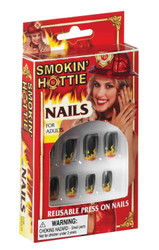 Reusable Press on Nails Flames Design Smokin' Hottie Firefighter Flame
