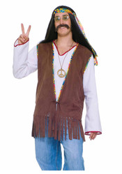 HIPPIE VEST sonny and cher fringe adult mens 70s 60s halloween costume woodstock