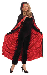 COFFIN CAPE red black vampire gothic witch magician halloween costume cloak robe