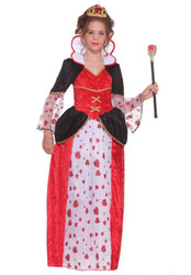 QUEEN OF HEARTS dress girls halloween costume gown alice wonderland MEDIUM