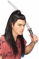 SAMURAI WIG warrior chinese japenese ninja black ponytail hair costume accessory