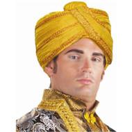 MAHARAJI TURBAN indian Maharaja gold hat adult mens halloween costume accessory