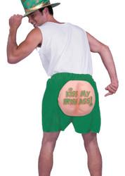 KISS MY IRISH ASS boxer shorts green funny mens st. patrick day costume