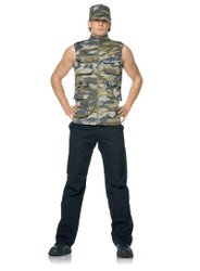 ARMY SERGEANT military mens army vest camouflage halloween costume XL