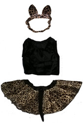 BABY LEOPARD SET velour kitty cat girls baby infant dress up halloween costume