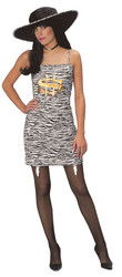 MONEY pimp pimpette zebra dress hat WOMENS costume