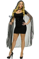 gold SPIDERWEB CAPE hood witch vampire adult costume
