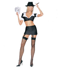 GANGSTER GIRL fishnet thigh highs pinstripe halloween sexy costume M/L 10-14