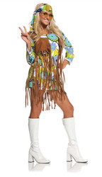 Retro Hippie 60s Dress w/ Fringe Women's Costume