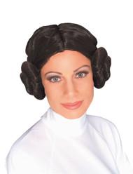 PRINCESS LEIA WIG star wars side buns brown hair womens halloween costume