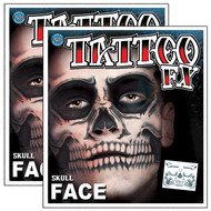 TWO - Skull Face Temporary Tattoo Tinsley Transfers Qty 2