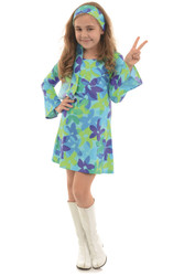 70's Hippie Flower Power Go Go Girls Kids Halloween Costume