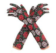 Long Day Of The Dead Gloves Adult Womens Halloween Costume OS