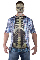 Photo Real Shirt - Skeleton Adult Mens Halloween Costume OS