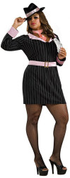 Pink GANGSTER GIRL mob suit womens sexy halloween costume adult PLUS 18-20