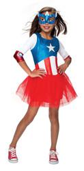Metallic Dress Girls Kids American Dream Captain America Costume