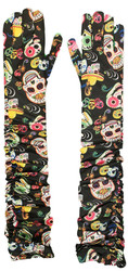 Day of the Dead Day Long Ruched print Gloves adult womens Halloween costume