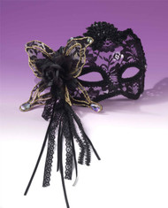 Fancy 1/2 Mask Cat Lace adult womens Mardi Gras Halloween costume