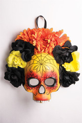 yellow orange black Day of the Dead mask with flowers adult womens mask costume