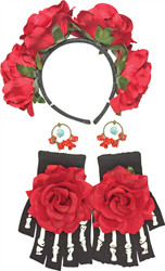 Day of Dead Kit Earrings Gloves Headband Womens Costume Accessory