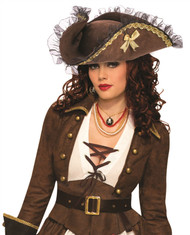 Womens Tricorner Brown Pirate Hat
