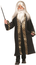 White Wizard Magician Wig Moustache & Beard set kids boys Halloween costume accessory