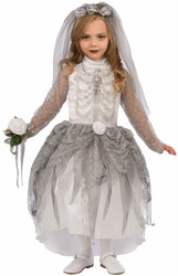 Skeleton Bride Ghost Day of the Dead kids girls Halloween costume