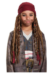 Child Pirate of the Caribbean Jack Sparrow Bandana W/Dreads