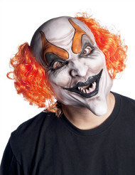 Clown with red curly hair on sides overhead latex mask