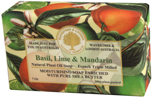 Wavertree & London Basil, Lime & Mandarin French Milled Australian Natural Soap