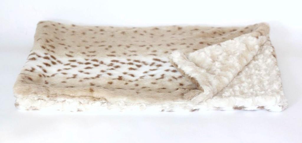 Snow Leopard & Ivory Minkie Binkie Blanket