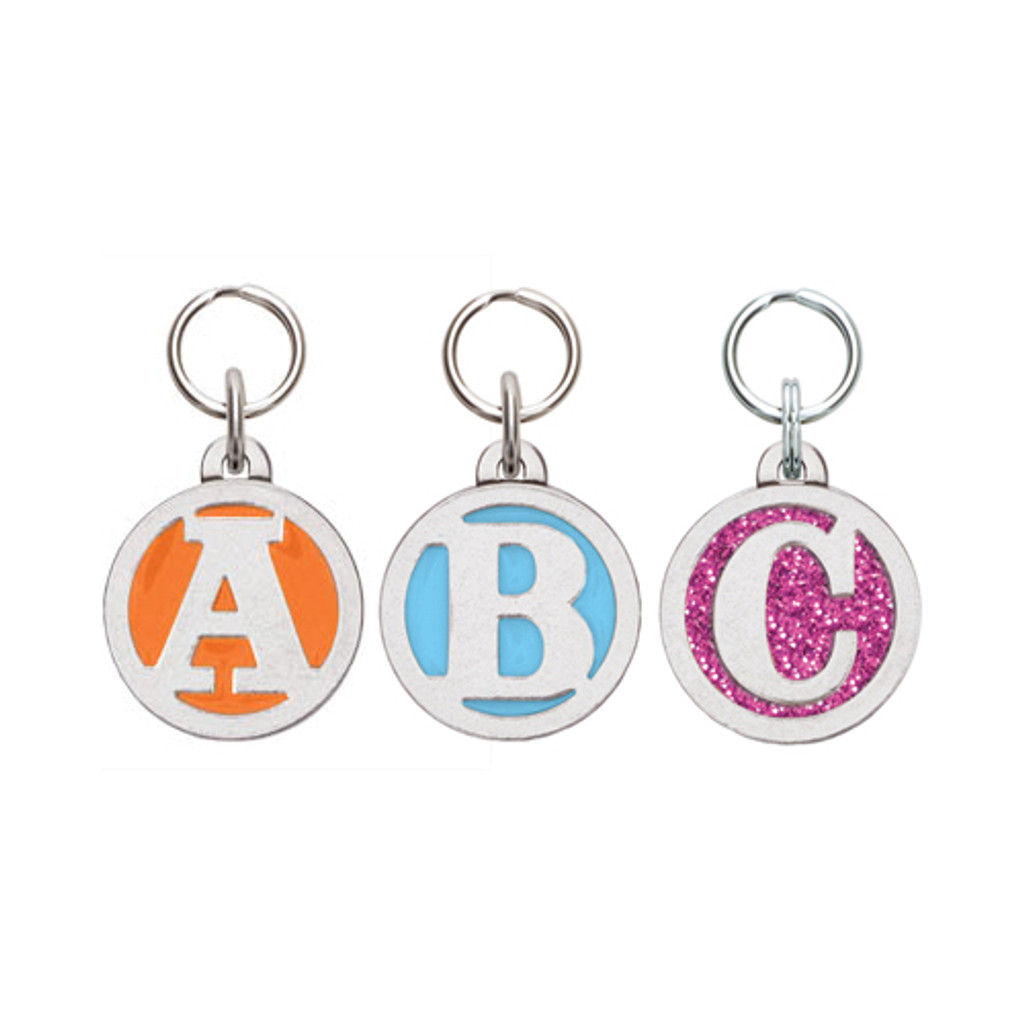 Colorful Initial Pet ID Tag