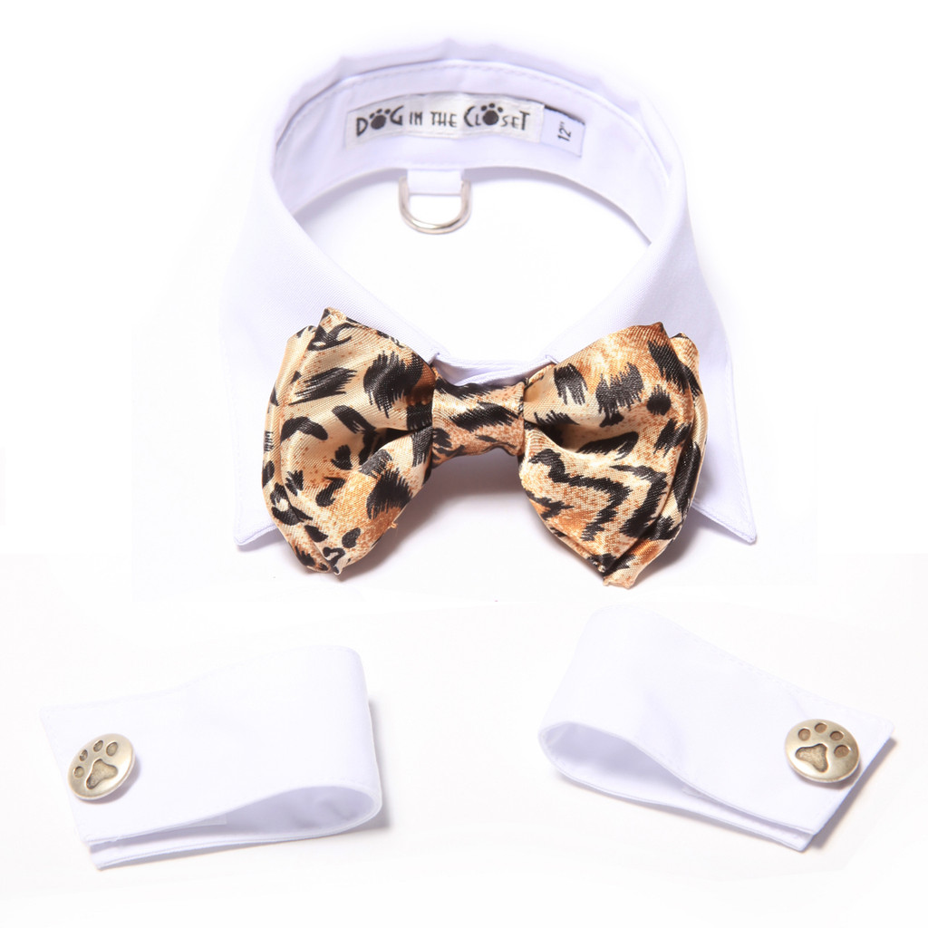 White Shirt Dog Collar with Leopard Bow Tie