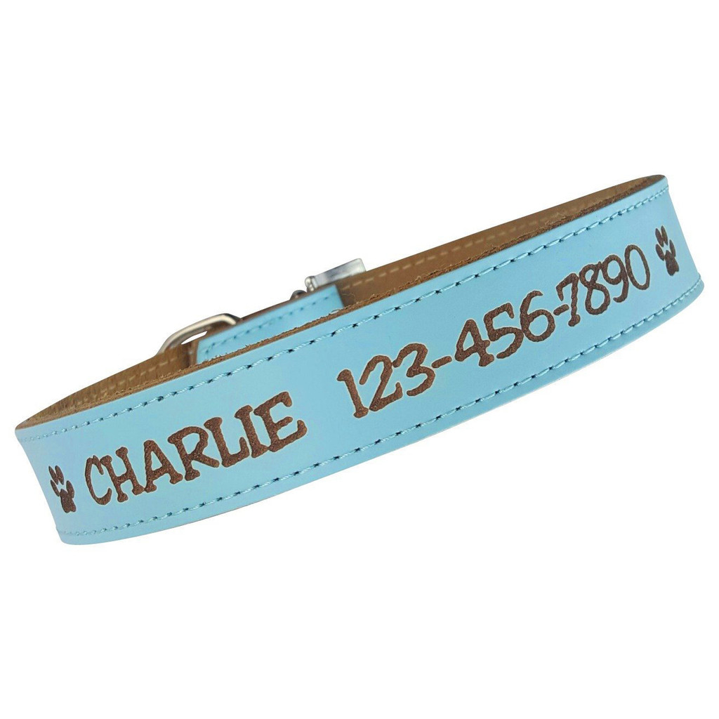 Personalized Dog Collar - Engraved Soft Leather