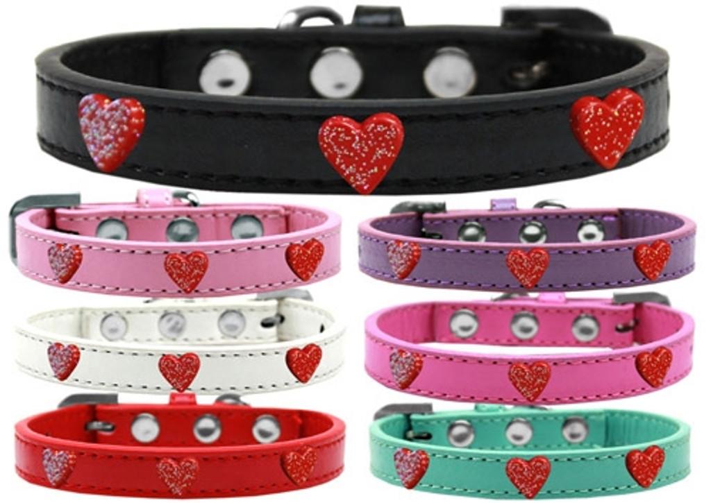Red Glitter Heart Widget Dog Collar