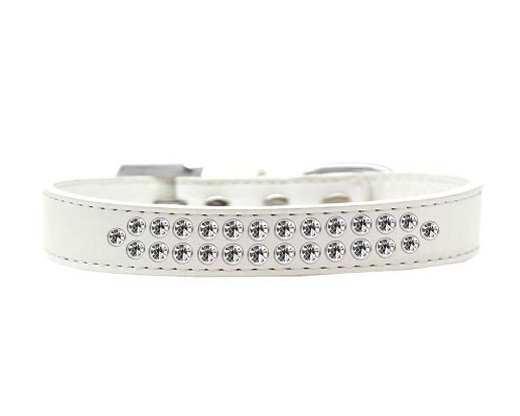 Two Row Clear Crystal Dog Collar