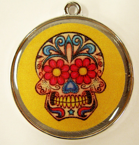 Floral Skull Yellow ID Tag