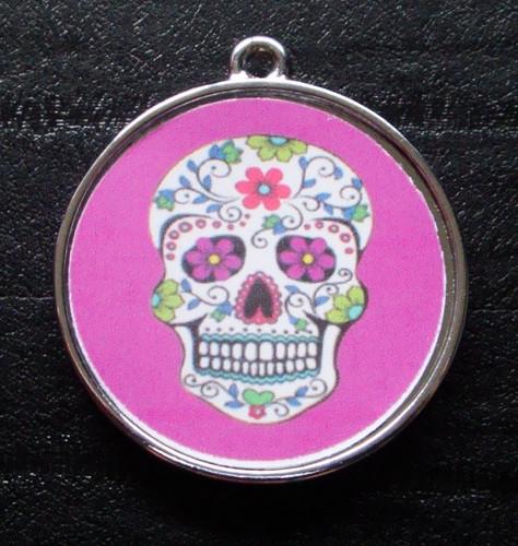 Floral Skull Purple Pet ID Tag