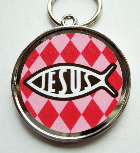 Jesus Pink Pet ID Tag