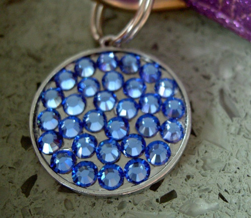 Sapphire Blue Rhinestone Pet ID Tag