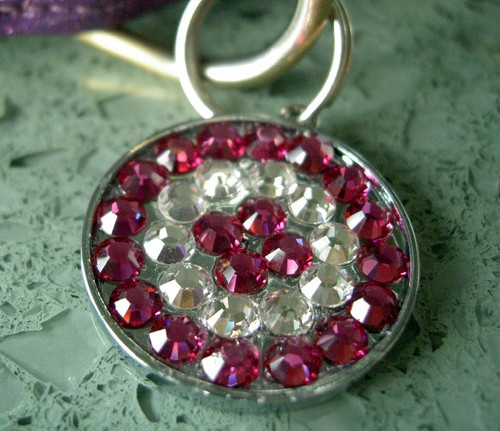 Pink and Clear Rhinestone Pet ID Tag